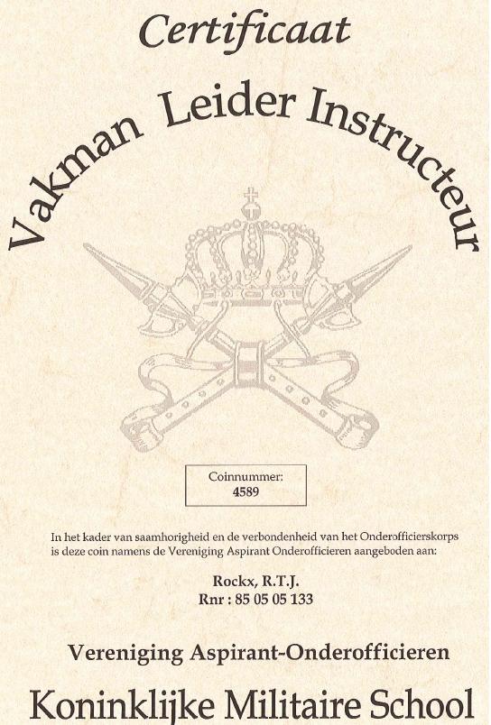 Certificaat Vakman, Leider, Instructeur