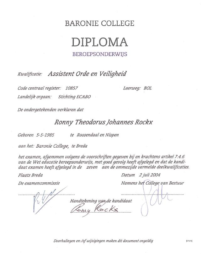 Diploma Assistent Orde en Veiligheid